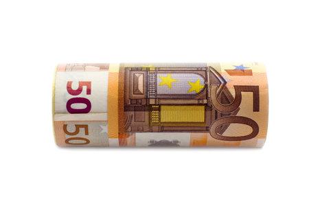 Monetary denominations advantage 50 euros on a white background