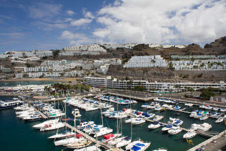 puertorico: The Harbour and Beach of Puerto Rico In Gran Canaria