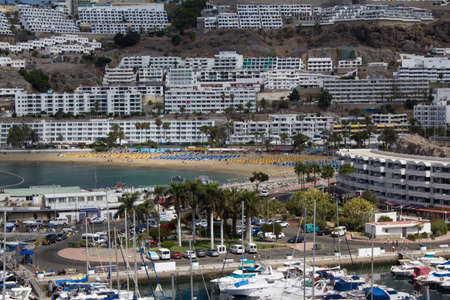 beack: The Harbour and Beack of Puerto Rico In Gran Canaria