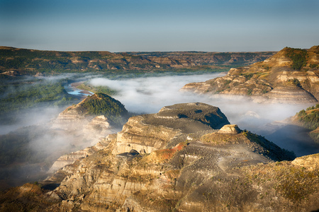 The Little Missouri River winds through Theodore Roosevelt National Park at Sunrise
