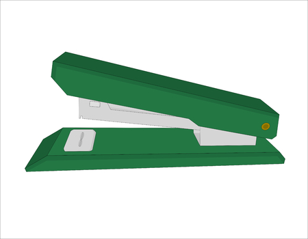 Green stapler office tool isolated, illustration vector