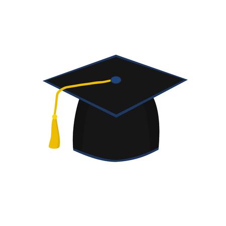 Black graduate cap degree bachelor, illustration icon Vector Illustratie