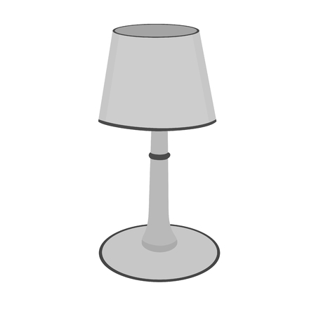Isolated modern gray table lamp device icon Illustration