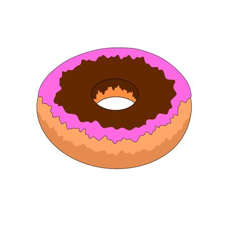 Fresh chocolate donut dessert icon, illustration design