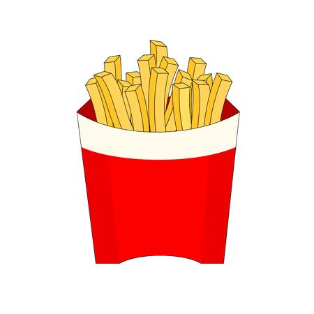 Isolated fresh french fries fast food, illustration icon Ilustração
