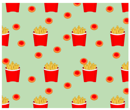 Beautiful seamless fast food french fries and cookie pattern background