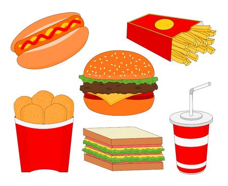 Isolierter ungesunder Fast-Food-Menü-Icon-Satz