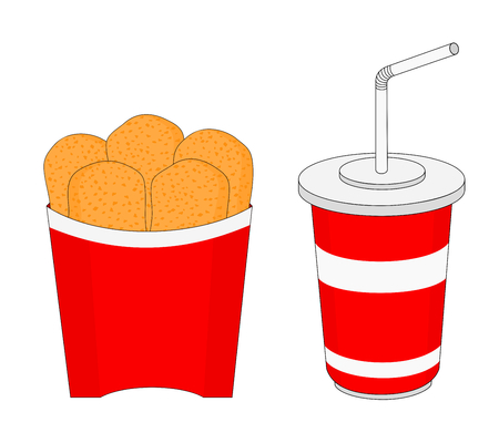 Fresh unhealthy fast food breakfast menu with chicken nuggets and soft drink