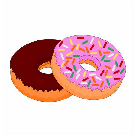 Isolated fresh unhealthy fast food sweet doughnut , illustration icon