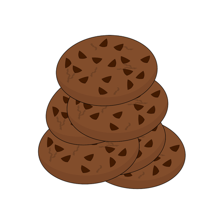 Fresh unhealthy fast food chocolate cookies , illustration icon