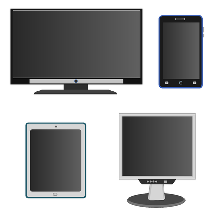 Isolated modern technology device display with smartphone , monitor and television icon set