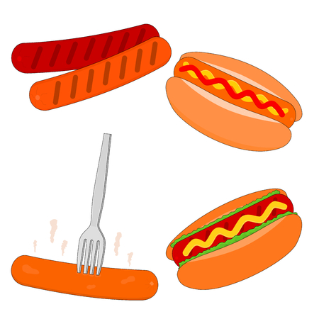 Isolated delicious fast food hot dog menu , icon set Standard-Bild - 115609027