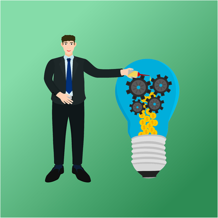 Businessman oil drop on gear money light bulb , success profit concept