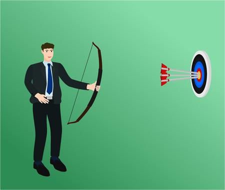 Businessman shooting three arrow to center target , success concept