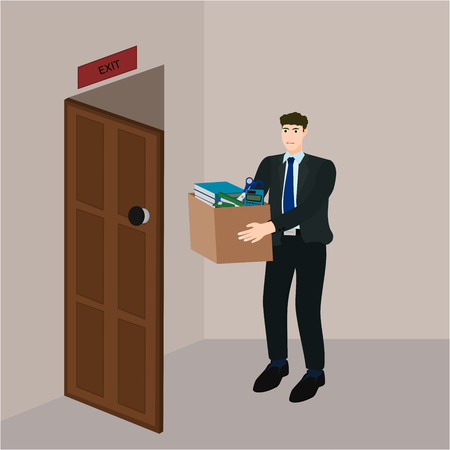 Sad businessman leave job and holding document box , vector cartoon