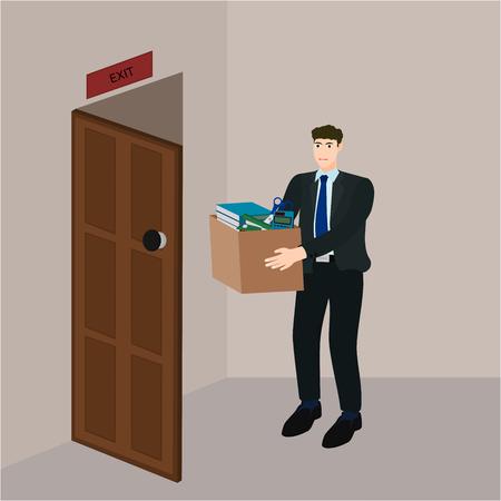 Sad businessman leave job and holding document box , vector cartoon