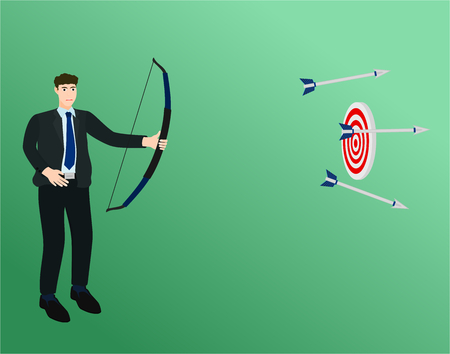 Businessman archery three arrow not hit target , fail concept 矢量图像
