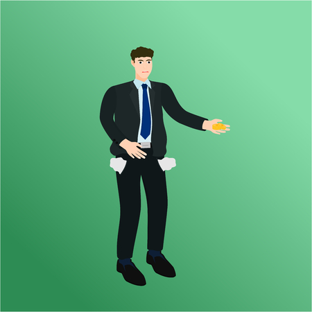 Poor businessman holding little money , vector cartoon