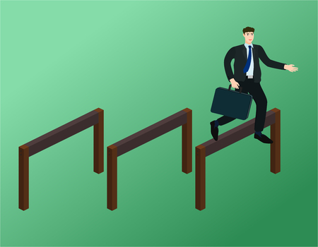 Businessman running and jump over obstacles , success concept