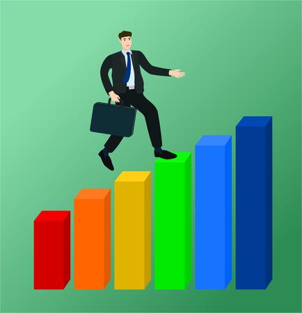 Businessman running on growth profit graph , success concept