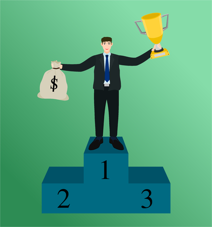 Winner businessman standing on podium holding trophy cup and money bag