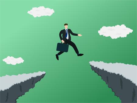 Businessman jump through gap of cliff , success concept