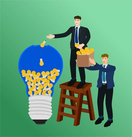 Two businessman holding and putting idea to big light bulb , teamwork concept 向量圖像
