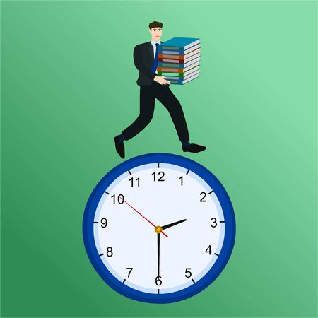 Busy businessman holding document and running on clock, vector cartoon 向量圖像