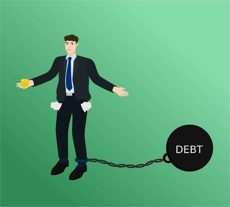 Poor businessman have little money with chain burden debt concept 向量圖像