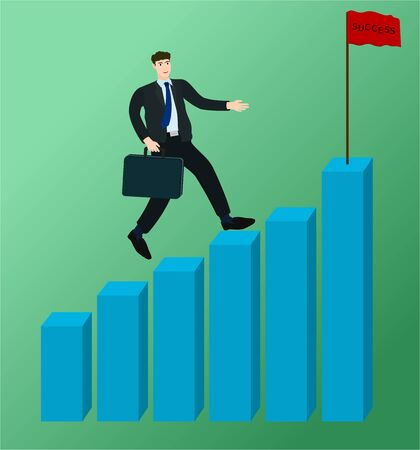 Businessman running on growth profit graph to success flag ,vector cartoon 向量圖像