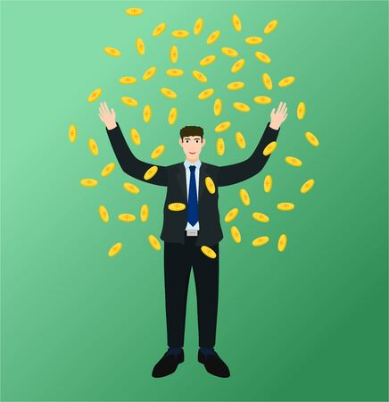 Happy businessman standing money fall, success concept 向量圖像