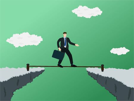 Businessman trying walk on rope to through gap of cliff  vector cartoon