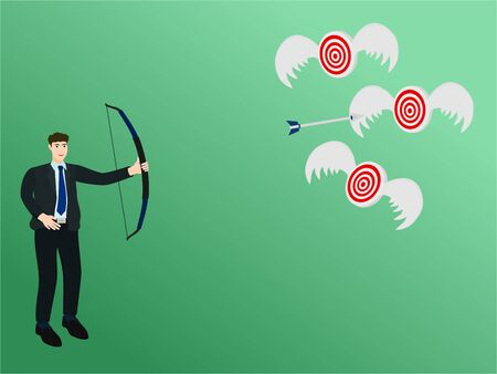Businessman archery arrow to flying target, success concept