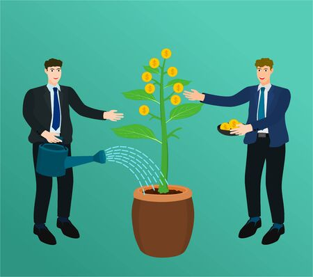 Two businessman watering growth money tree and collect coin success concept