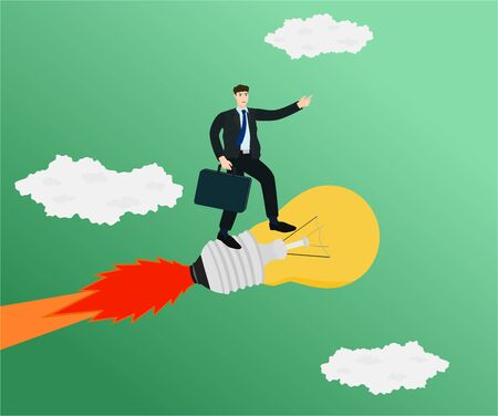 Businessman flying with standing on idea rocket , startup concept