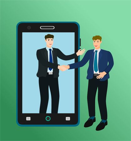 Businessman success handshake for deal online agreement with smartphone concept