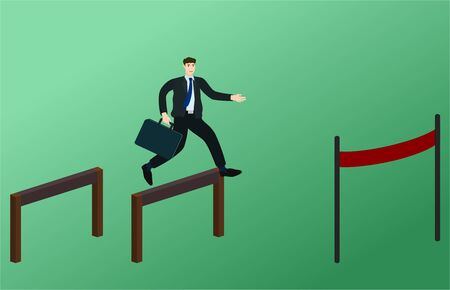 Businessman running and jump over obstacles to finish line , success goal concept 向量圖像