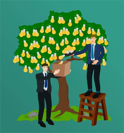 Two business success collect idea from big tree , teamwork concept