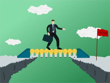 Businessman walking on idea bridge for through gap of cliff , success concept