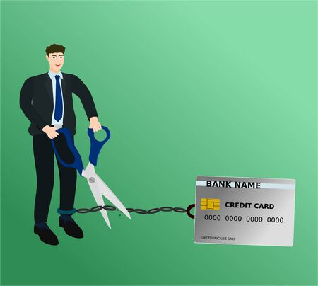 Businessman cutting burden credit card chain with scissors , vector cartoon 向量圖像