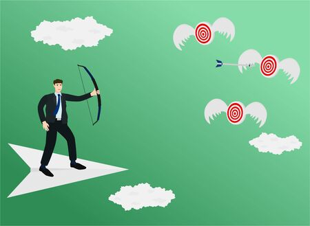 Businessman standing on paper plane and shooting arrow to flying target , success concept
