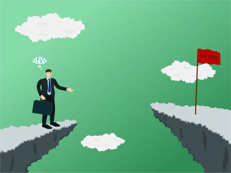 Confuse businessman standing at the cliff and don't know how to across to success flag
