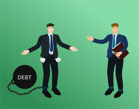Businessman no money to payment debt to creditors , vector cartoon 向量圖像