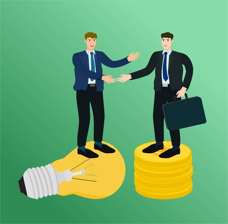Two businessman standing on idea and money to handshake for contract , success concept