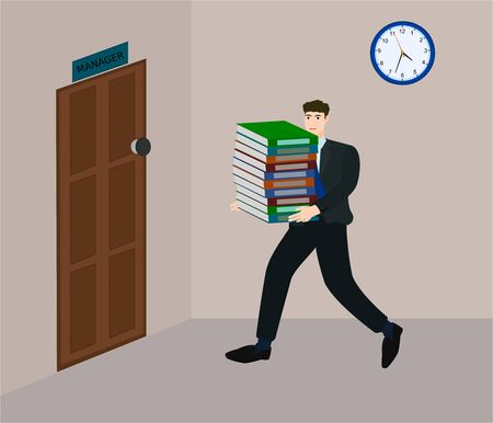 Businessman holding many document and running for sent to manager in deadline time Illustration