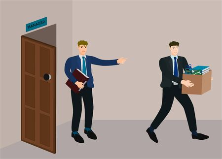 Manager dismissed employee from job and go out from office