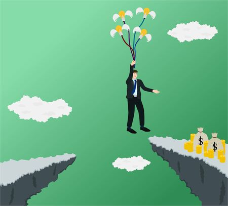 Businessman across gap of cliff for go to profit money with flying idea, success concept