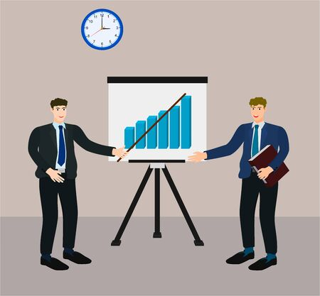 Businessman presentation growth profit graph on screen for manager to see 向量圖像