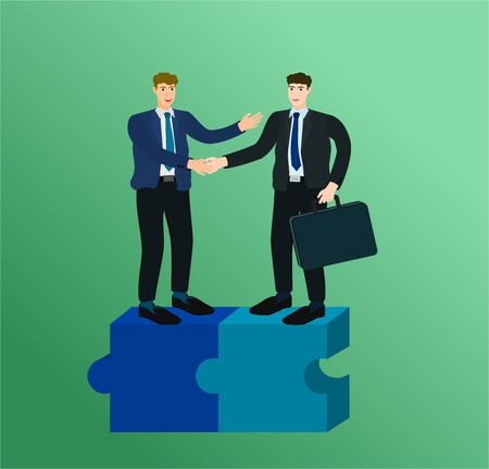 Two businessman standing on complete connect puzzle and handshake for trading agreement