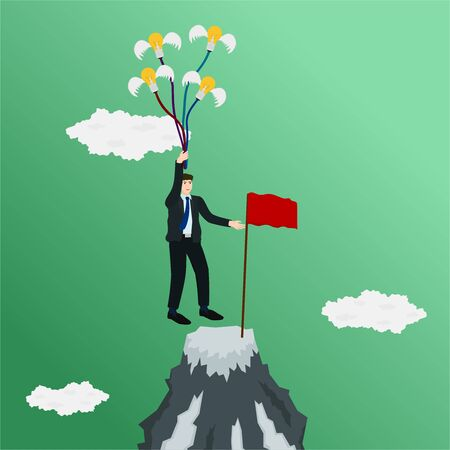 Businessman go to top mountain with flying idea , success concept